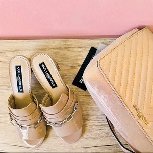 🆕✨ KARL LAGERFELD chain nude  leather mules